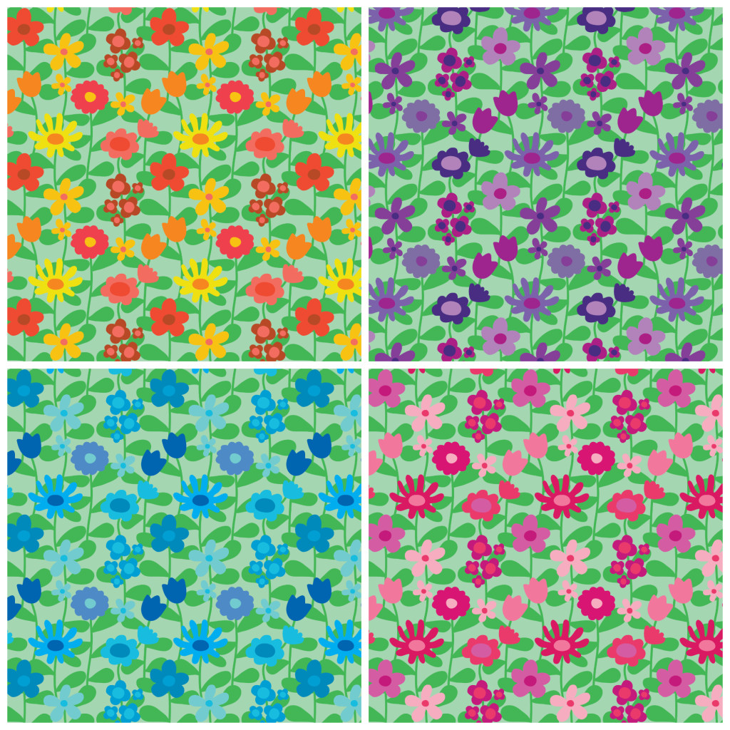 Floral pattern in four colour ways
