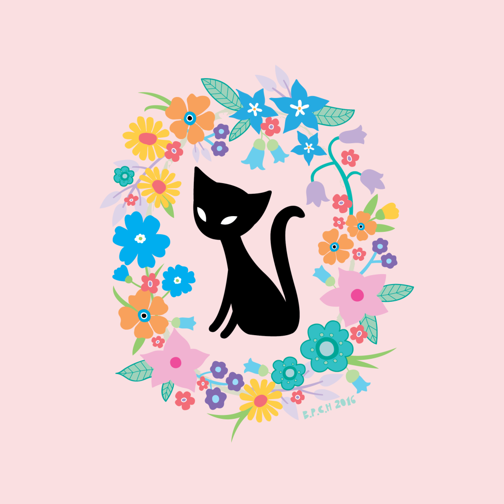 Illustrated black cat in flowers