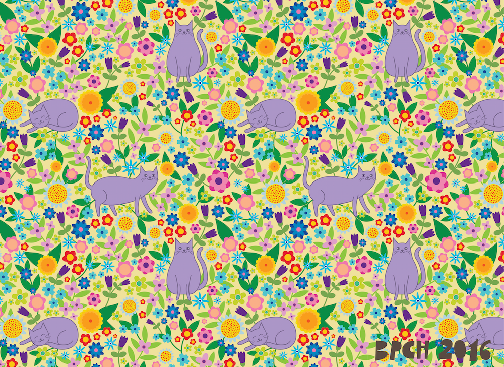 Repeat pattern with lilac cats and bright flowers