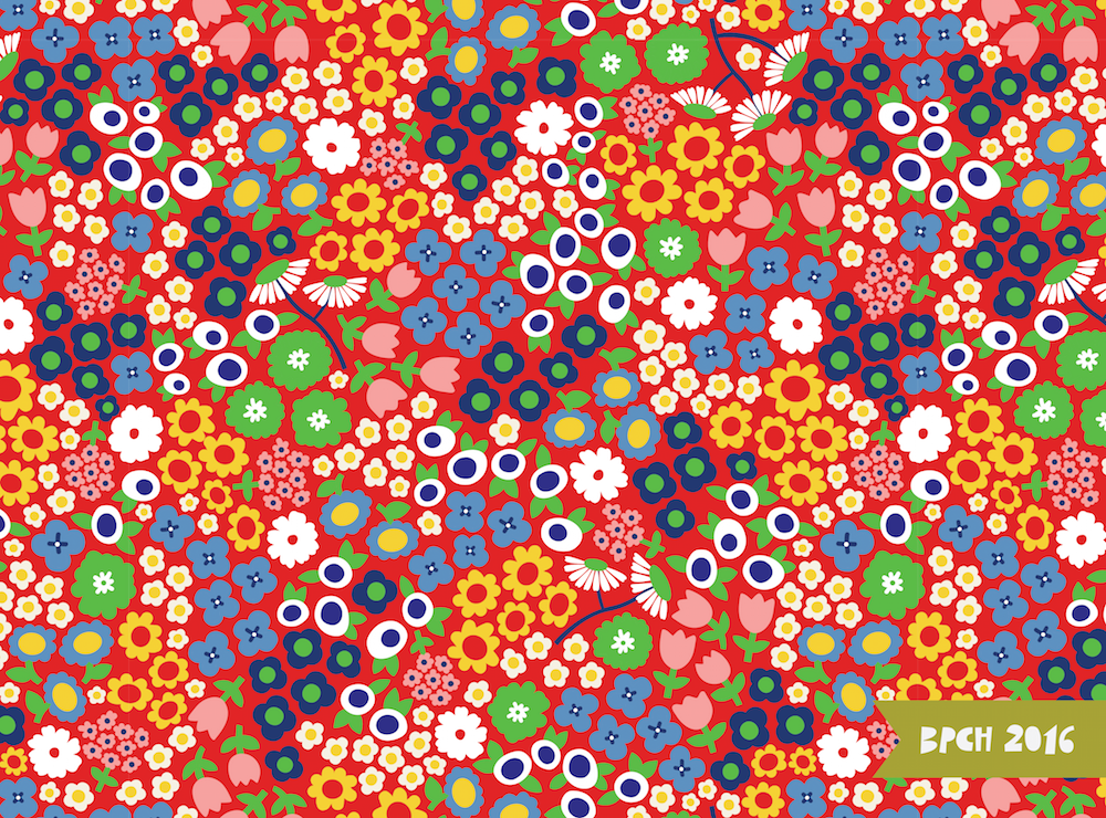 Red blue and white floral pattern
