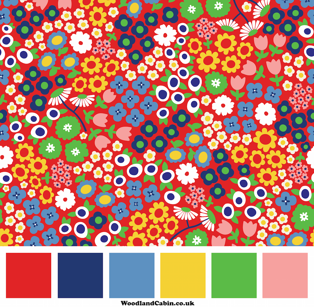 Floral pattern with colour palette