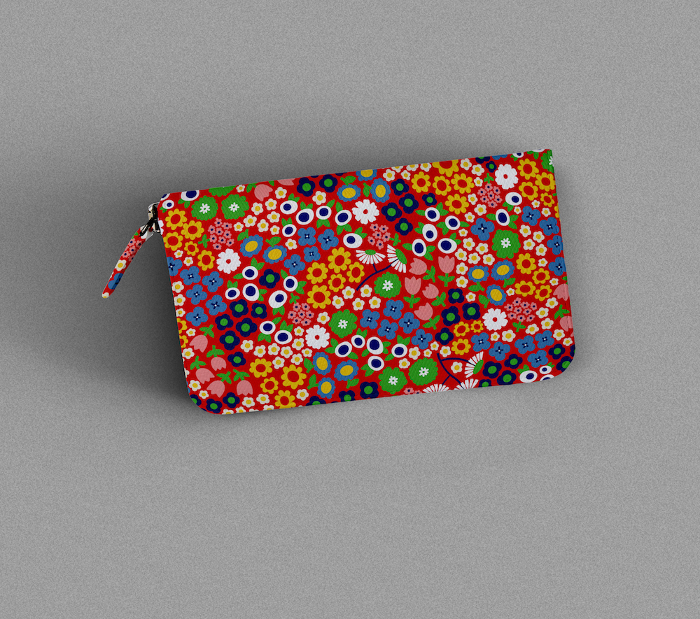 Red floral pouch