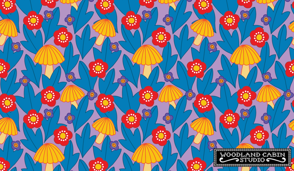 Bright flowers and mushroom pattern