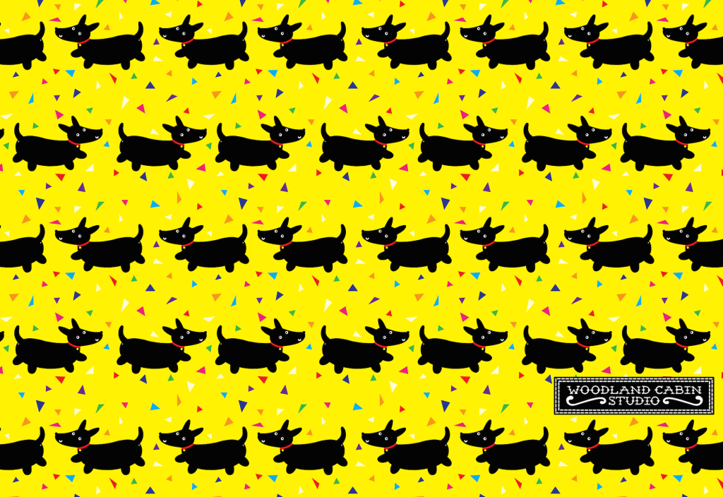 Pattern with black dogs on a yellow background