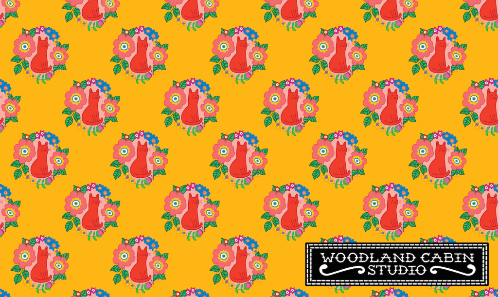 A yellow pattern with red cats and flowers