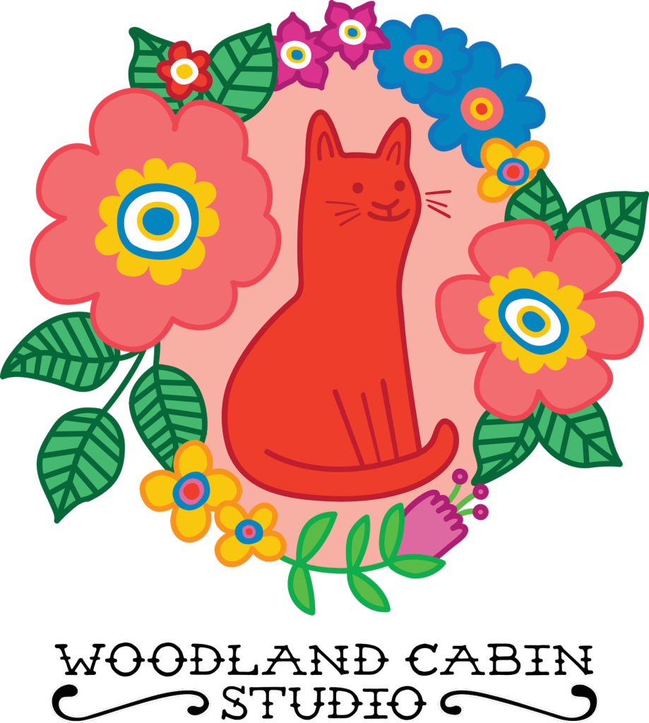 Red and orange cat surrounded by flowers illustration
