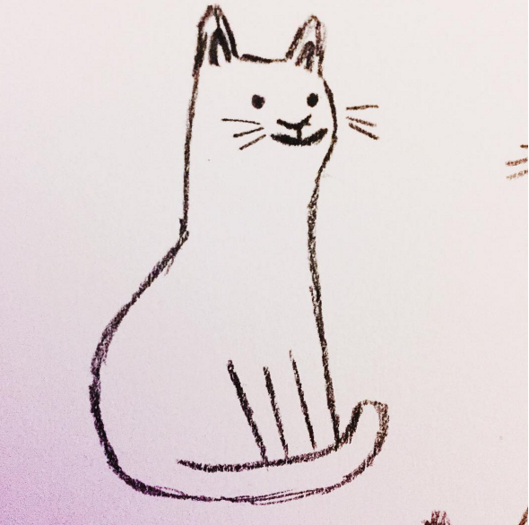 Pencil sketch of a sitting cat
