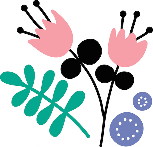 Pink and black flower illustration