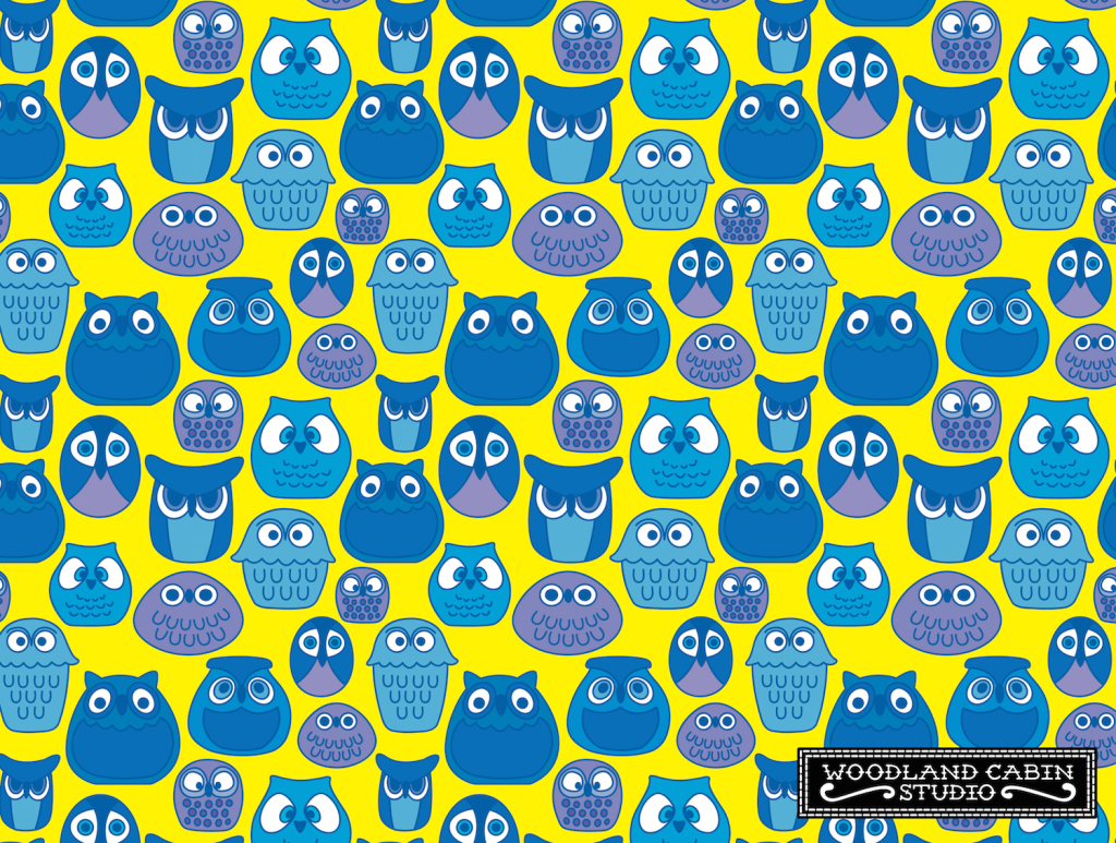 Blue and Yellow Retro Owl Pattern