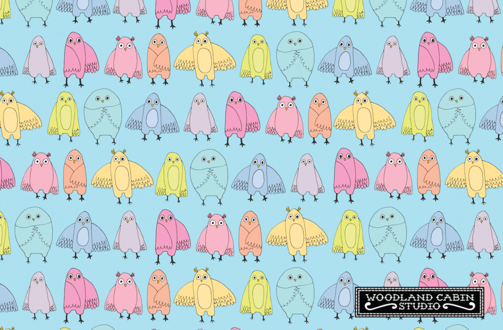 Hand drawn owl pattern