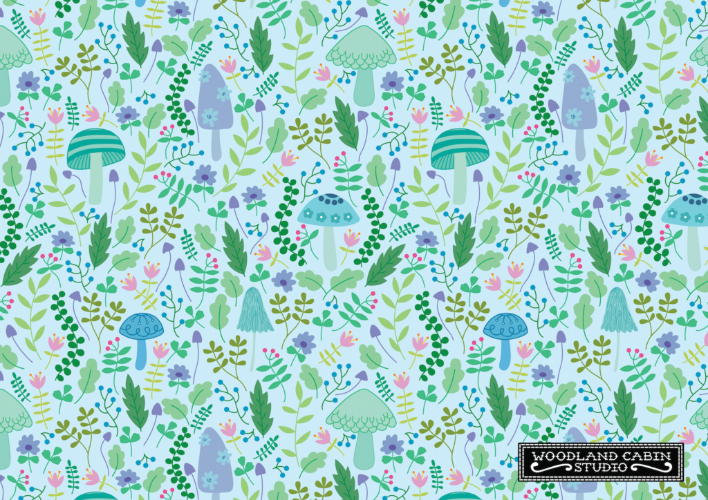 Mint coloured mushroom pattern