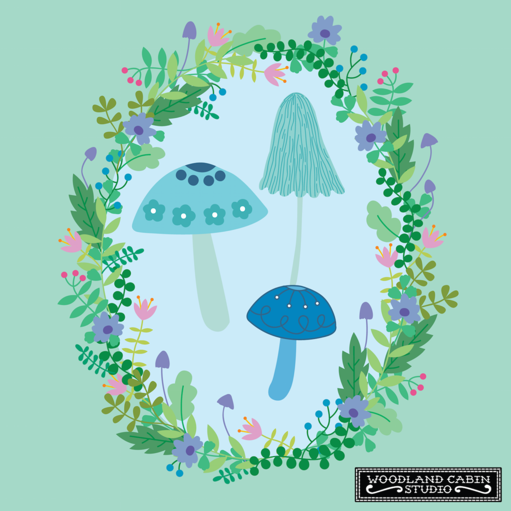 Illustrated mushrooms