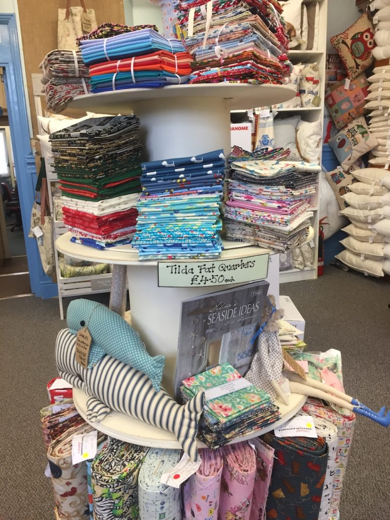 Fat quarters on a stand
