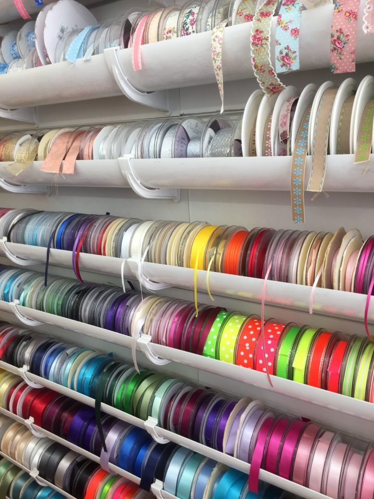 Colourful ribbons on display