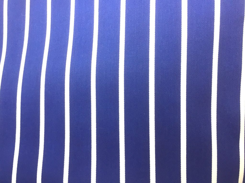 Blue striped cotton drill fabric