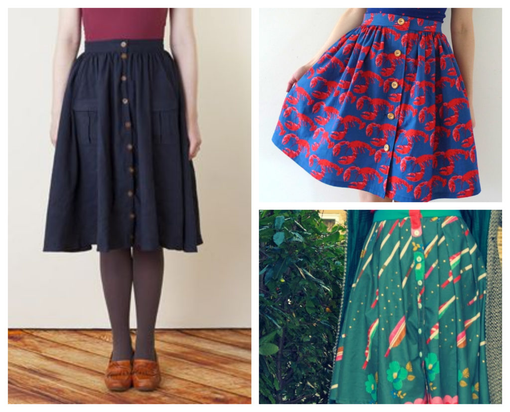 Button Up Gathered Skirts