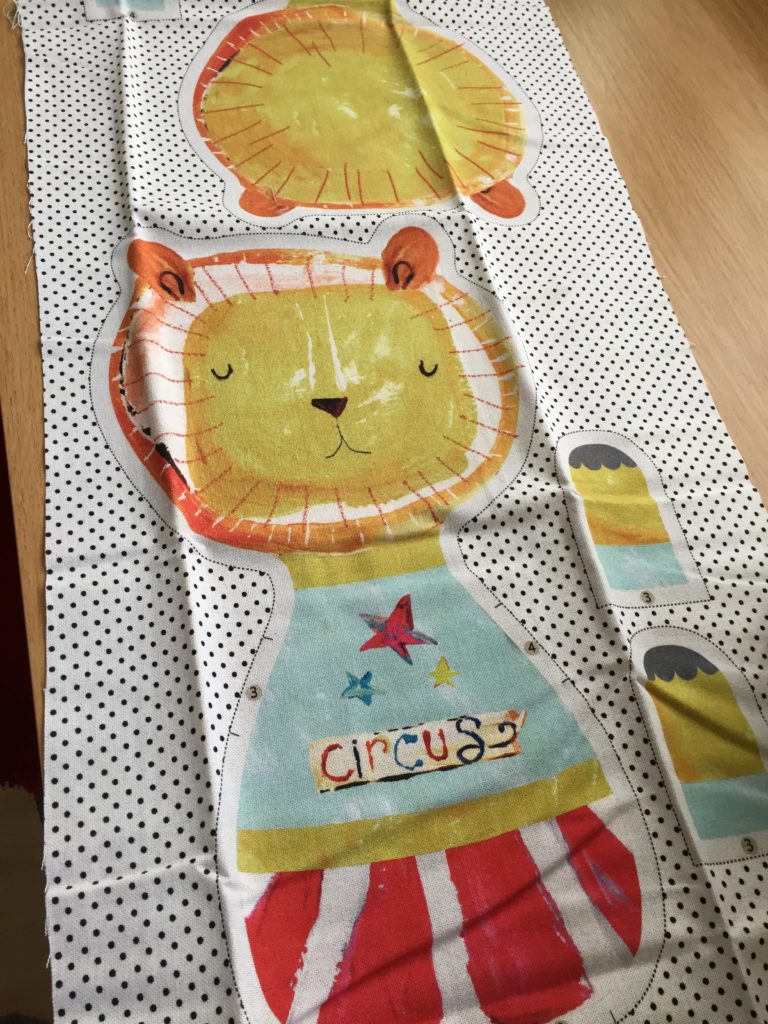 Pre printed fabric with lion toy design