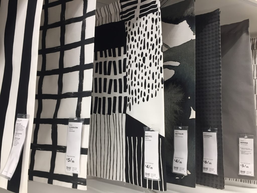 Samples of black and white patterned fabric
