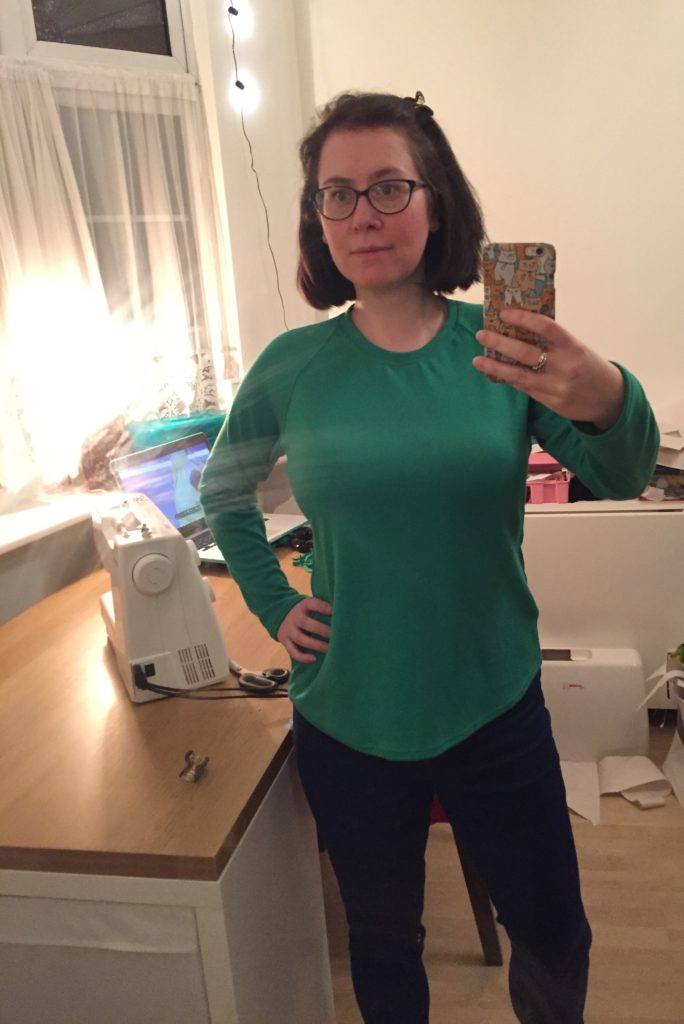 Selfie photo of raglan top with puckering on neckline