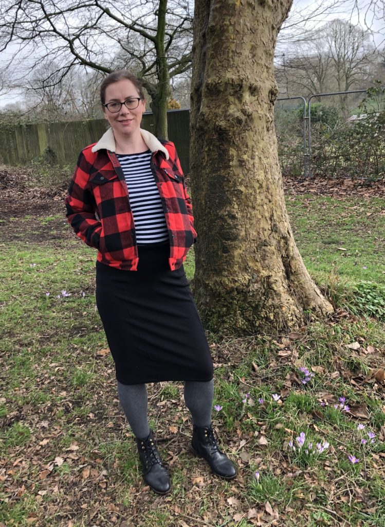 Black Tilly and The Buttons Bibi skirt worn with a Levi's jacket