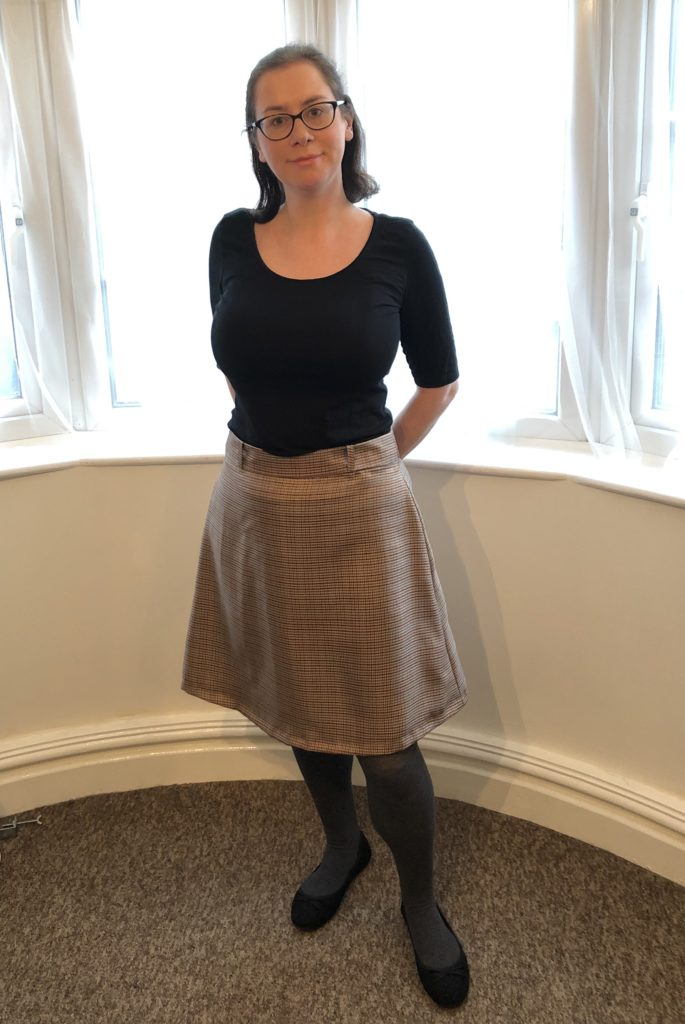 Tilly and The Buttons Delphine skirt made from brown polyester woven fabric
