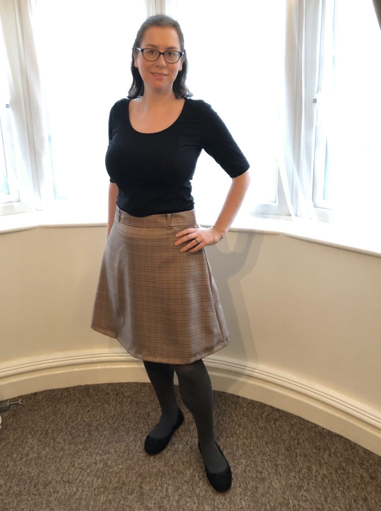 Tilly and The Buttons Delphine skirt worn with a black top