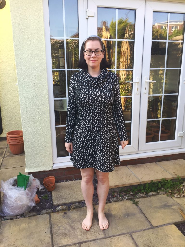 Tilly and The Buttons Freya dress with cowl neck
