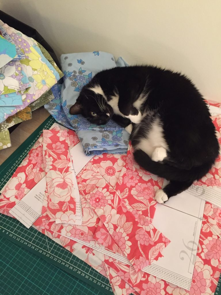 Cat rolling on cut out dress pieces