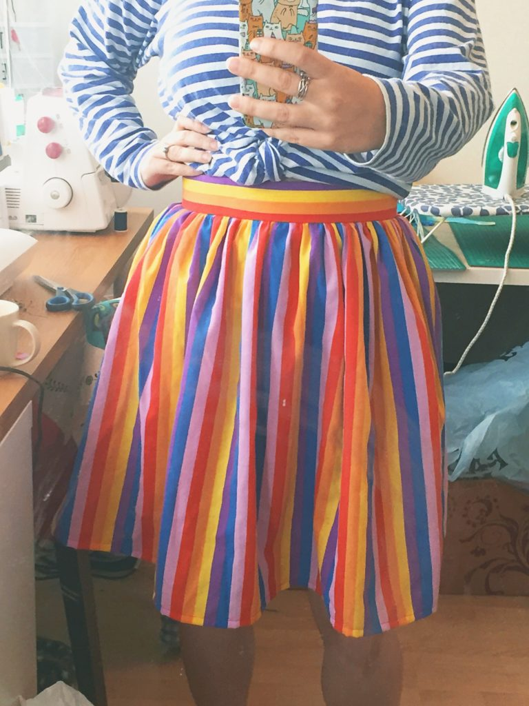 Rainbow gathered skirt